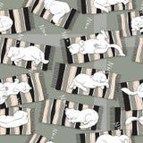 Teste padrão sem emenda do vetor com gato do sono Imagens de Stock Royalty Free