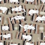 Teste padrão sem emenda do vetor com gatos do sono Fotos de Stock Royalty Free