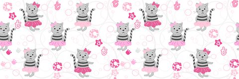 Teste padrão sem emenda do vetor com gatos dos desenhos animados e uma inscrição do gato Ilustração do vetor com gatos dos desenh ilustração royalty free