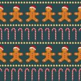 Teste padrão sem emenda do vetor com homem de pão-de-espécie, bastão de doces e estrelas para o dia de ano novo, Natal, feriado d Ilustração Royalty Free