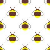 Teste padrão sem emenda do vetor com insetos Fundo simétrico com as abelhas pequenas no contexto branco Foto de Stock