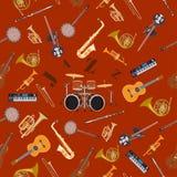 Teste padrão sem emenda do vetor com instrumentos de música jazz Fotografia de Stock Royalty Free