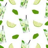 Teste padrão sem emenda do vetor com limonada ou cocktail do mojito ilustração stock