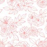 Teste padrão sem emenda do vetor com linha cor-de-rosa arte das flores da rosa, do lírio, da peônia e do crisântemo no fundo bran imagens de stock
