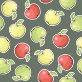 Teste padrão sem emenda do vetor com maçãs Foto de Stock Royalty Free