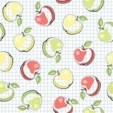 Teste padrão sem emenda do vetor com maçãs Fotografia de Stock