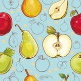 Teste padrão sem emenda do vetor com maçãs e peras Imagem de Stock Royalty Free