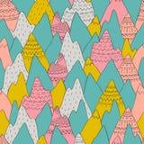 Teste padrão sem emenda do vetor com montanhas decorativas ilustração do vetor