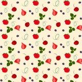 Teste padrão sem emenda do vetor com morangos, as folhas e a cereja maduras ilustração stock