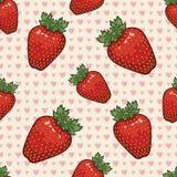 Teste padrão sem emenda do vetor com morangos e corações Imagem de Stock