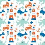 Teste padrão sem emenda do vetor com navio, farol, baleia, âncora, caranguejo, polvo Ilustração sem emenda náutica do vetor do te ilustração do vetor