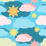 Teste padrão sem emenda do vetor com nuvens e sol Fotos de Stock Royalty Free