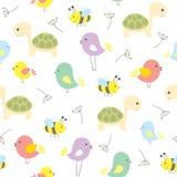Teste padrão sem emenda do vetor com os animais bonitos dos desenhos animados imagens de stock