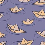 Teste padrão sem emenda do vetor com os barcos de papel no estilo dos desenhos animados ilustração do vetor