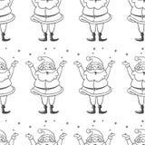 Teste padrão sem emenda do vetor com os flocos de neve de travamento de Santa Claus Ha Fotos de Stock