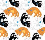 Teste padrão sem emenda do vetor com os gatos pretos, brancos e vermelhos Fotos de Stock Royalty Free