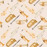 Teste padrão sem emenda do vetor com os instrumentos musicais do vento Imagem de Stock Royalty Free