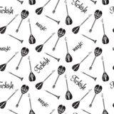 Teste padrão sem emenda do vetor com os instrumentos musicais turcos preto e branco ilustração royalty free