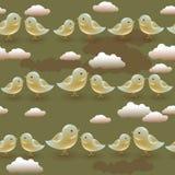 Teste padrão sem emenda do vetor com os pássaros da azeitona dos desenhos animados Fotografia de Stock