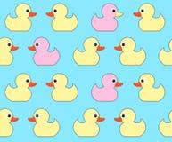 Teste padrão sem emenda do vetor com os patos amarelos brilhantes bonitos Brinquedo do pato Imagem de Stock Royalty Free