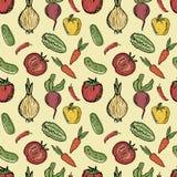 Teste padrão sem emenda do vetor com os vegetais tirados mão ilustração stock