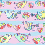 Teste padrão sem emenda do vetor com pássaros dos desenhos animados Fotografia de Stock