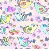 Teste padrão sem emenda do vetor com pássaros dos desenhos animados Fotografia de Stock Royalty Free