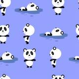 Teste padrão sem emenda do vetor com a panda bonito e simples dos desenhos animados ilustração stock