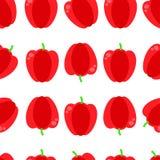 Teste padrão sem emenda do vetor com paprika vermelha Ilustração vermelha sem emenda do vetor do fundo da paprika ilustração royalty free