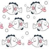 Teste padrão sem emenda do vetor com peixes bonitos Motriz escandinavos Cópia do bebê Ilustração do projeto do fundo dos desenhos ilustração stock