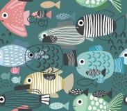 Teste padrão sem emenda do vetor com peixes engraçados ilustração royalty free