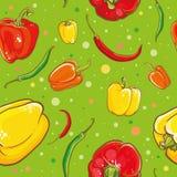 Teste padrão sem emenda do vetor com pimentas Foto de Stock Royalty Free