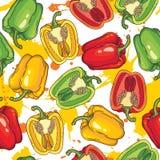 Teste padrão sem emenda do vetor com pimentas Foto de Stock