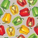 Teste padrão sem emenda do vetor com pimentas Fotografia de Stock