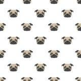 Teste padrão sem emenda do vetor com pug Ícone liso da cabeça de cão Imagens de Stock