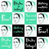 Teste padrão sem emenda do vetor com retrato e citações de Lovecraft Imagem de Stock Royalty Free