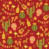 Teste padrão sem emenda do vetor com símbolos mexicanos tradicionais Imagens de Stock Royalty Free