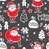Teste padrão sem emenda do vetor com Santa Claus e as decorações Foto de Stock Royalty Free