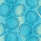 Teste padrão sem emenda do vetor com shell ou a vieira pontilhada do mar no fundo azul marítimo Tema marinho e aquático ilustração stock