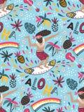Teste padrão sem emenda do vetor com surfista e frase decorativa - ` do ` ALOHA - no fundo azul Imagens de Stock Royalty Free