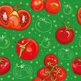 Teste padrão sem emenda do vetor com tomates Imagens de Stock Royalty Free
