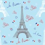 Teste padrão sem emenda do vetor com torre Eiffel Fotografia de Stock