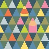 Teste padrão sem emenda do vetor com triângulos e lápis ilustração do vetor