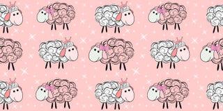 Teste padrão sem emenda do vetor com um carneiro Ilustração de um carneiro dos desenhos animados Cópias para matérias têxteis ilustração royalty free