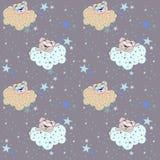 Teste padrão sem emenda do vetor com uma ilustração de um urso, de nuvens e de estrelas do sono ilustração royalty free