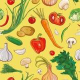 teste padrão sem emenda do vetor com vegetais Foto de Stock