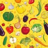 Teste padrão sem emenda do vetor com vegetais e frutos Imagens de Stock