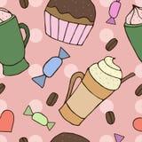 Teste padrão sem emenda do vetor com xícaras de café e queques Fotos de Stock
