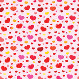 Teste padrão sem emenda do vetor cor-de-rosa com corações Fotografia de Stock