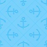 Teste padrão sem emenda do vetor da arte Op com âncoras Fundo marinho Silhuetas do Guilloche das âncoras em repetir listras ilustração royalty free